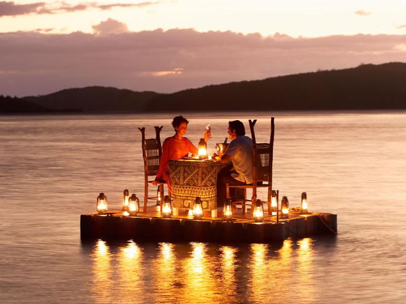 Pontoon dinner at Turtle Island, Fiji