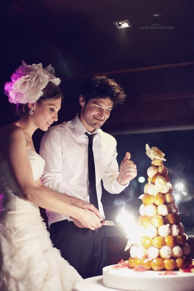 Cutting the cake, French style, from The Paris Wedding