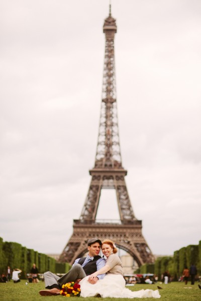 From The Paris Wedding, a modern bridal portrait at Eiffel Tower