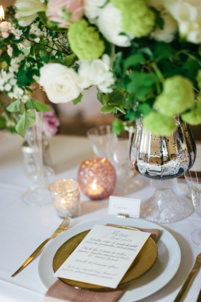 A table menu from The Paris Wedding