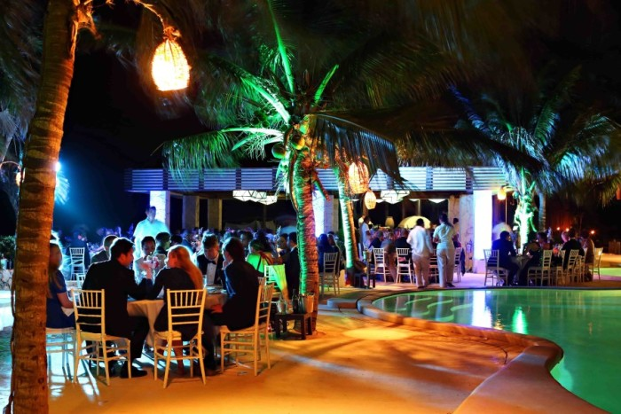 Poolside wedding reception at the Viceroy Riviera Maya
