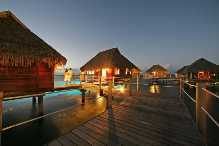 Overwater bungalows at the Moorea Pearl Resort & Spa