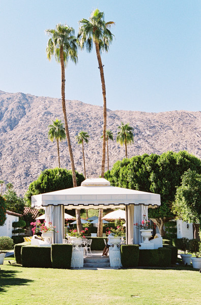 Viceroy Palm Springs with mountain backdrop