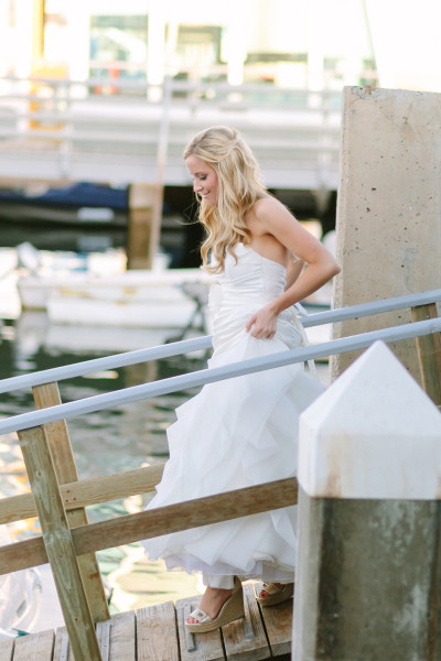 Kristine descends the dock in Newport Beach
