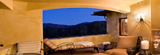 Ojai Valley Inn and Spa deck with mountain view.