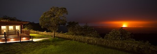 Night eruption at Volcano House note Big Island Hawaii