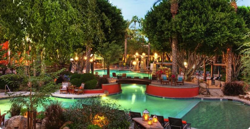 FireSky Resort pool evening