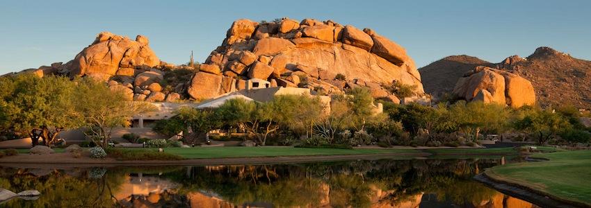 Boulders Resort pond and bolder pile
