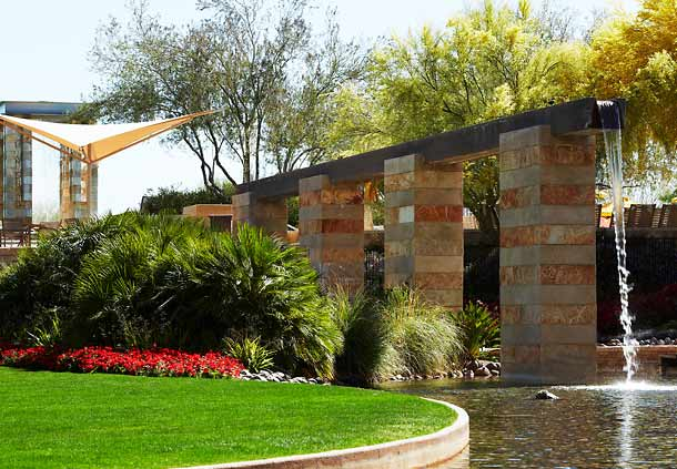 Green grass and waterfall at Sage Court, Marriott Desert Ridge