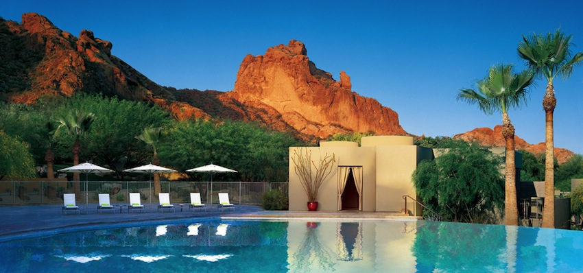 Pool and mountain view at the Sanctuary at Camelback Mountain