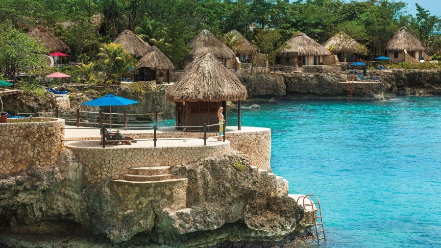 Rockhouse Resort Jamaica cabanas from the water.