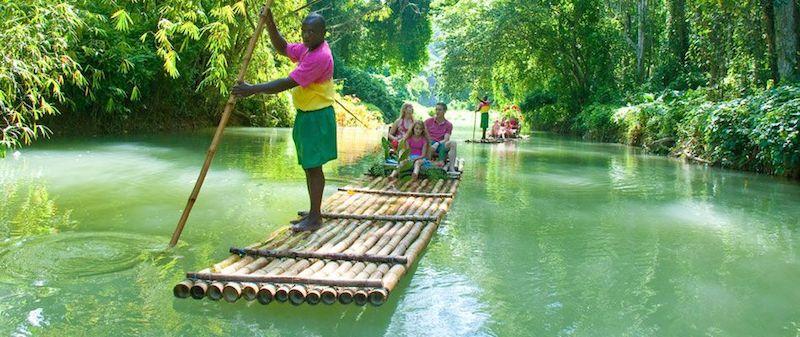 Paddling bamboo raft , Jamaica