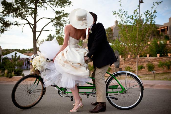 Bride, groom, and bike at Four Seasons Rancho Encantado, just outside Santa Fe
