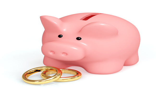piggy bank and wedding rings