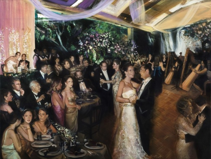 Wedding portraits on canvas at Grand Velas resorts