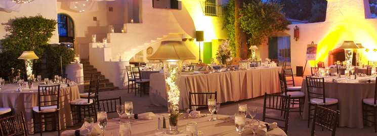 A white-on-white La Quinta wedding reception