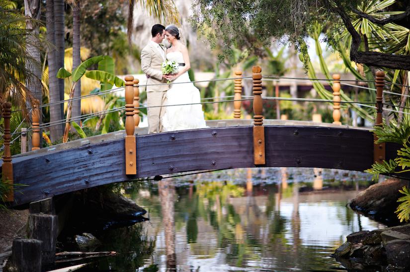Wedding couple on bridge Paradise Point