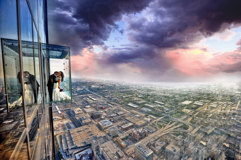 Bridal couples who care a lot about Instagram head straight from the ceremony to The Ledge, on the 103rd floor of Chicago's Willis Tower.