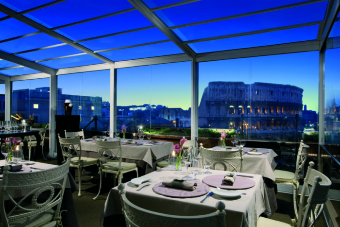 The rooftop restaurant at Palazzo Manfredi, in Rome