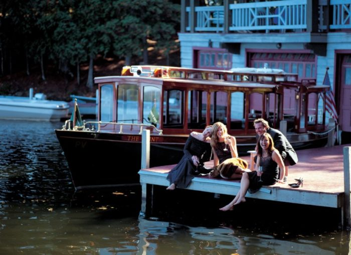 Weddings at The Point, on Saranac Lake, are a throwback to the gilded era of Adirondack Great Camps, complete with mahogany boats and croquet.