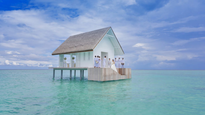 An overwater wedding chapel at the Four Seasons Maldives, Landaa Giraavaru.