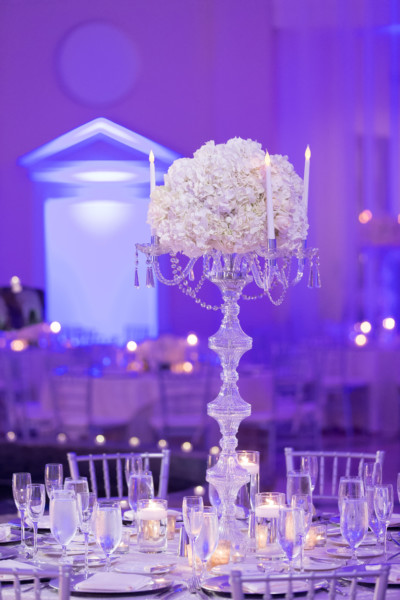 Here's what happens when a classic white-and-crystal wedding gets an ultra-violet wash.